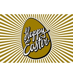 Gold foil calligraphy happy easter greeting card vector