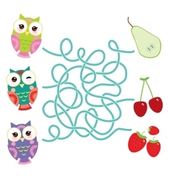 Set bright colorful owls with pear cherry vector