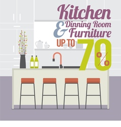 Kitchen room sale up to 70 percent banner vector