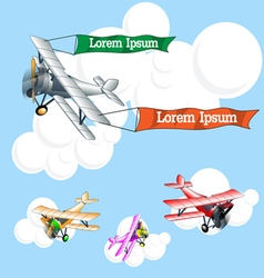 Old airplane model with ribbons flying in the sky vector