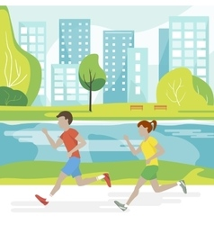 Couple running in the park vector