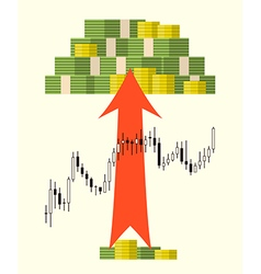 Pack of money on forex stock chart background vector