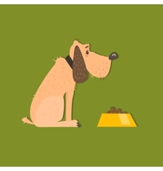 Bloodhound with food bowl image vector