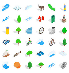 Camp nature icons set isometric style vector
