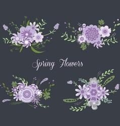 Chalkboard Spring purple Flowers vector image
