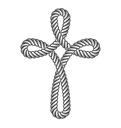 christian cross rope symbol vector image vector image