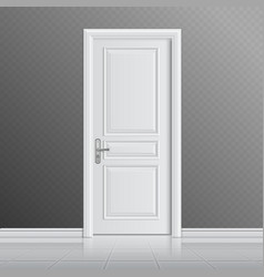 Closed white entrance door vector