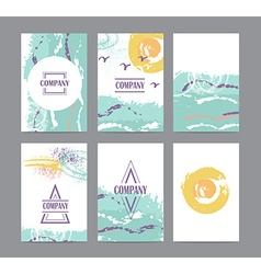 Collection of six cute universal card or vector image