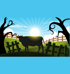 Cow in the forest - cartoon landscape vector