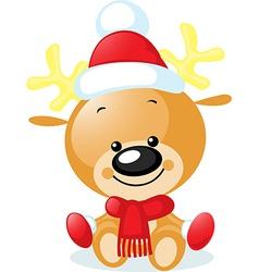 cute reindeer with santa cap - vector image vector image