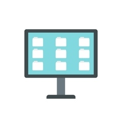 Desktop of computer with folders icon flat style vector image