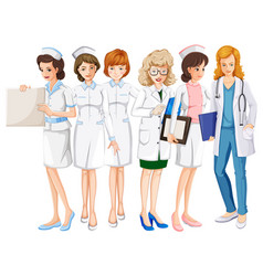 female doctors and nurses in uniform vector image vector image