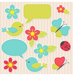 Flowers and birds vector