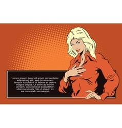 Girl presses her hand to her chest vector image