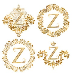 Golden z letter vintage monograms set heraldic vector