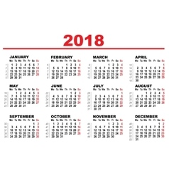 Grid calendar for 2018 vector image vector image