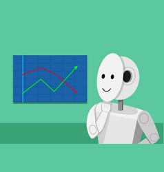 Humanoid robot analyzing stock graphs vector