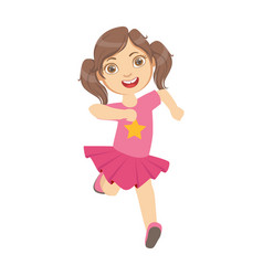 Little girl running in a pink dress kid in a vector