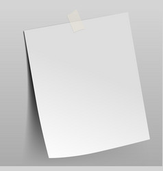 paper sheet attached by scotch tape to the wall vector image vector image