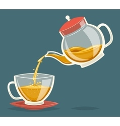 Pour tea drink from glass teapot transparent vector