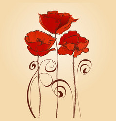 red flowers celebratory card poppy design elements vector image vector image