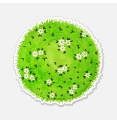 Round watercolor meadow like planet with green vector