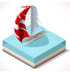 Sail boat set 02 vehicle isometric vector