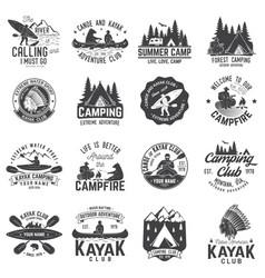 Set of canoe kayak and camping club badge vector