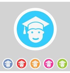Student in graduation cap flat icon vector