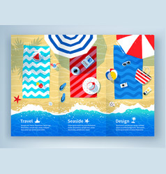 summer vacation tri-fold brochure design vector image vector image