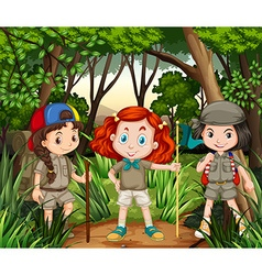 Three girls hiking in the jungle vector image vector image