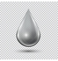 Transparent waterdrop on light gray background vector image vector image