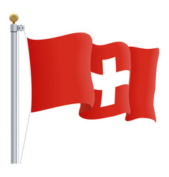 waving switzerland flag isolated on a white vector image vector image