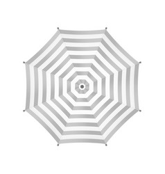 White Umbrella With Gray Stripes Top View vector image