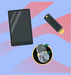 workplace desk tablet and flash drive top angle vector image