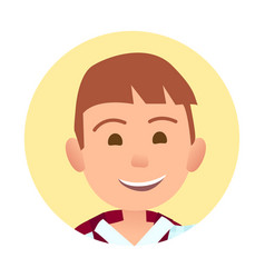 Young boy with broad sincere smile round portrait vector