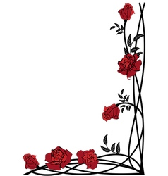 floral border with roses vector image