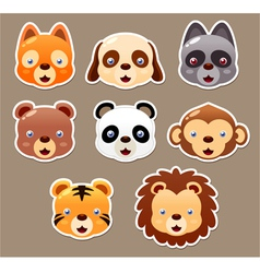 Animals face set vector image