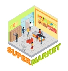 Supermarket interior in isometric projection vector