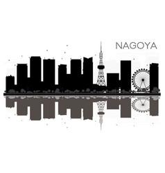Nagoya city skyline black and white silhouette vector
