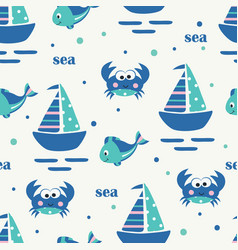Seamless pattern with sailing ship fish and crabs vector