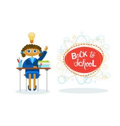 Back to school girl pupil sitting at desk studing vector