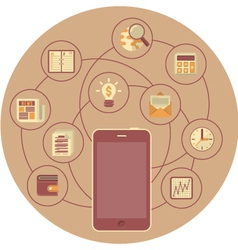 Business mobility concept in brown circle vector