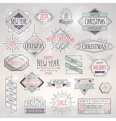 Hip xmas emblems vector