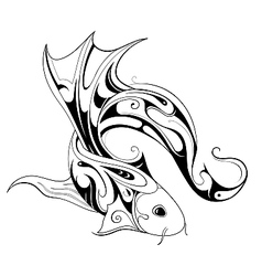 Koi fish tattoo sketch vector