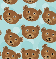 Bear seamless pattern with funny cute animal face vector