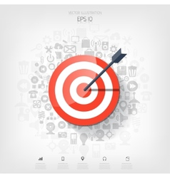 Flat target with web application icons management vector