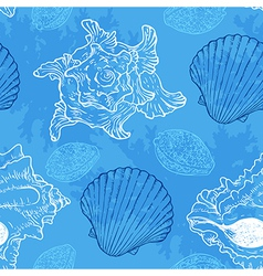 Blue seamless pattern with sea shells vector