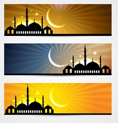 Ramadan and eid headers vector