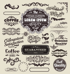 Decorative vintage elements and frames set vector